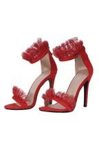 AX Paris Red Lace Detail Stiletto Heels
