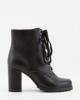 Le Château Faux Leather Round Toe Lace-Up Ankle Boot
