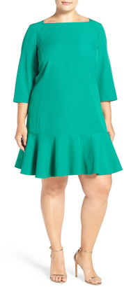 Eliza J Long Sleeve Flounce Dress