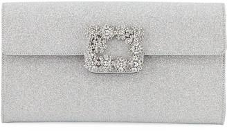 Roger Vivier Floral Crystal-Buckle Glitter Fabric Envelope Clutch Bag