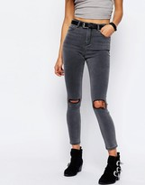 Asos RIDLEY Skinny Jeans In Slated Gray With Shredded Rips