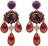 BRIGID BLANCO Garnet, amethyst & yellow-gold earrings