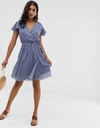 French Connection belted floral wrap dress-Blue