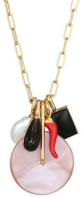 Lizzie Fortunato Pink City Goldplated & Multi-Stone Charm Pendant Necklace