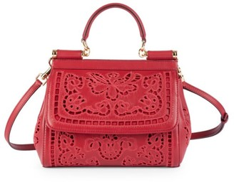 Dolce & Gabbana Small Sicily Cutout Leather Top Handle Bag
