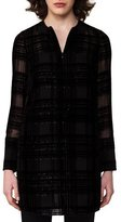Akris Velour Jacquard Tunic Blouse, Dark Blue