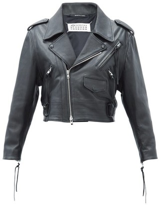 Maison Margiela Cropped Leather Jacket - Black