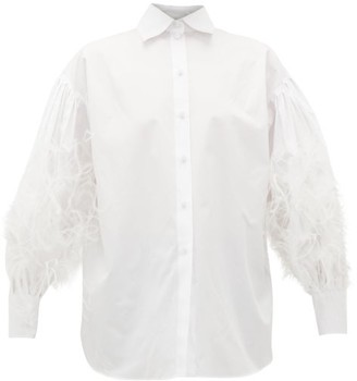 Valentino Feather-embellished Cotton-poplin Shirt - Womens - White
