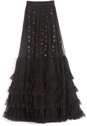 Giambattista Valli Layered Tulle Maxi Skirt in Black
