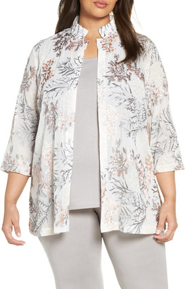 Ming Wang Floral Embroidered Jacket