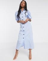 Asos Design DESIGN puff sleeve button through poplin maxi shirt dress in blue