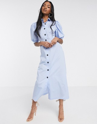 ASOS DESIGN puff sleeve button through poplin maxi shirt dress in blue