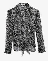 Equipment Exclusive Leopard Print Chiffon Tie Front Blouse