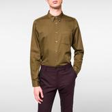 Paul Smith Men's Tailored-Fit Khaki Cotton Button-Down Shirt