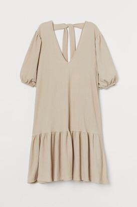 H&M Puff-sleeved Dress - Beige