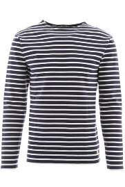 Armor Lux Navy Natural Long Sleeve Striped Top - S - Blue