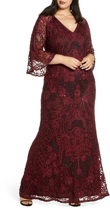 JS Collections Bell Sleeve Bead & Soutache Gown