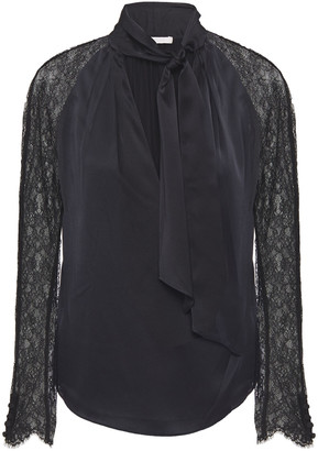 Jonathan Simkhai Wrap-effect Chantilly Lace-paneled Silk-blend Satin Blouse