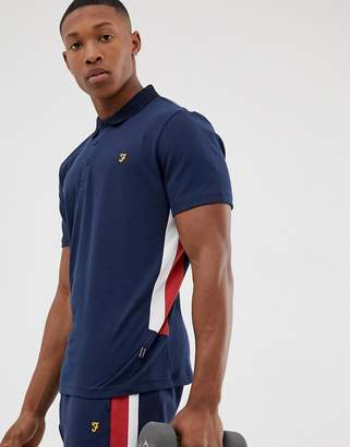 Farah Sport Mitchell side panel polo in navy