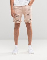 Asos Denim Shorts In Slim Fit With Extreme Rips In Pink