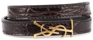 Saint Laurent Opyum Double Bracelet In Embossed Leather
