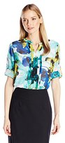 Calvin Klein Women's Printed Pleat Front Roll Sleeve