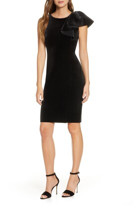 Eliza J Ruffle Shoulder Velvet Sheath Dress