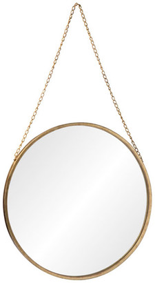 Urban Trends Collection Antiqued Gold Metal Mirror With Chain Hanger, Large