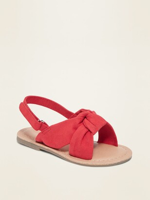 Old Navy Faux-Suede Twisted Bow-Tie Sandals for Toddler Girls