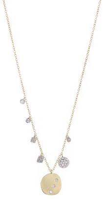 Meira T 14K Yellow Gold Geo Pave Diamond Fringe Necklace