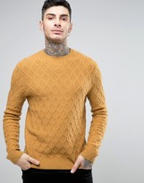 Asos Lambswool Rich Cable Jumper In Mustard