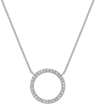 Carriere Sterling Silver Diamond Open Circle Pendant Necklace - 0.16 ctw