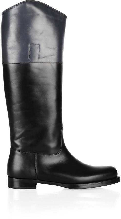 Jil Sander Two-tone leather riding boots