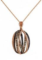 Effy Jewelry Effy 14K Rose Gold, Black, Cognac and White Diamond Pendant, 1.15 TCW