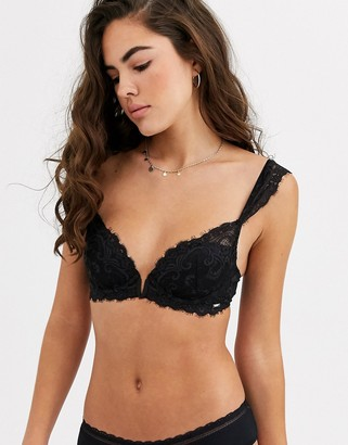 Lindex Ella M Smilla deco eyelash lace t-shirt bra in black