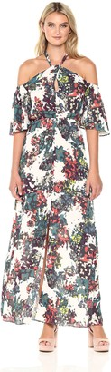 BCBGMAXAZRIA Azria Women's Kelley Cold Shoulder Floral Woven Halter Dress