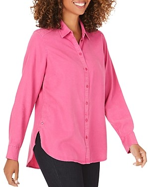 Foxcroft Plus Carmen High/Low Button-Down Shirt