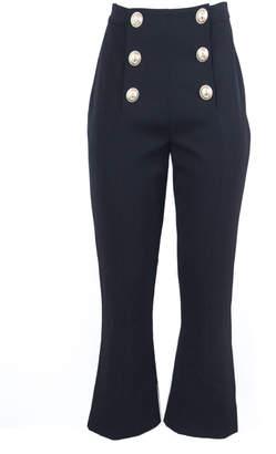 Balmain High-waisted Black Button-front Pants