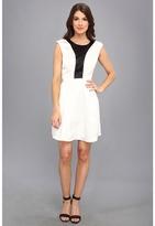 ABS by Allen Schwartz Color Blocked Bodice Fit & Flare Dress