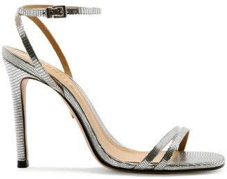 Schutz Altina Metallic Lizard-Embossed Leather Sandals