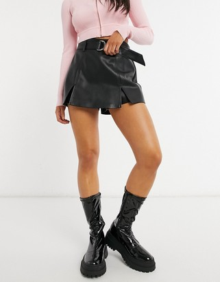 Pimkie faux leather split hem belted mini skirt in black