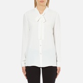 Moschino Women's Chic Shirt Tie Blouse with Pearl Buttons White