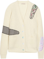 Christopher Kane Appliquéd Sequined Metallic Ribbed Cardigan - Cream