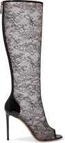 Nicholas Kirkwood Patent leather-trimmed corded lace knee boots