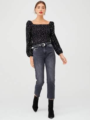 Very Silver Dot Square Neck Top - Black