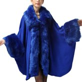 Win8Fong Women's Long Knitted Fur Bolero Shawl Stole Cloak Cape Coat