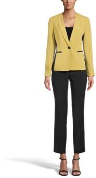Le Suit Contrast Blazer Pantsuit