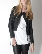 Horace Black Cropped Leather Biker Jacket