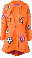 Moschino flower patch fishtail coat - women - Cotton/Polyamide/Rayon - 40