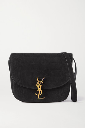 Saint Laurent Kaia Medium Leather-trimmed Croc-effect Suede Shoulder Bag - Black